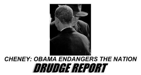 "sinister cheney, getting ready to ""suck the blood"" of obama... nice picture choice, Drudge! Loser."